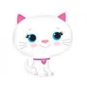 Котёнок белый, гелиевый, фольгированный шар