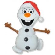 Снеговик в шапочке, гелиевый, фольгированный шар