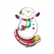 Снеговик радостный, гелиевый, фольгированный шар