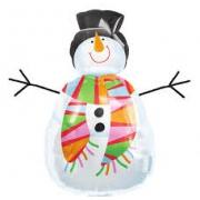 Снеговик с аппликацией, гелиевый, фольгированный шар
