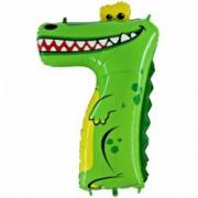 """Цифра  мини 7 """"Крокодил"""" ,  фольгированный шар"""