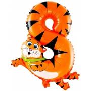 """Цифра  мини 8 """"Кот"""",  фольгированный шар"""