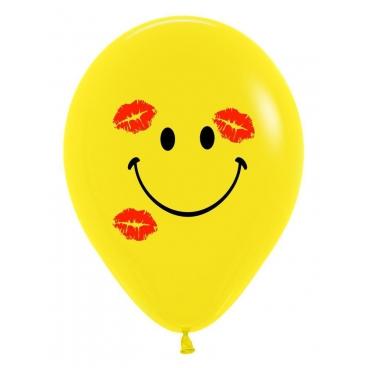 """Шар """"Смайл с поцелуями"""", 30 см, гелиевый, желтый, пастель, латексный"""