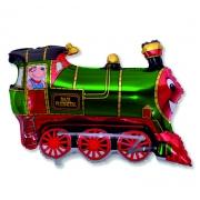 Поезд зелёный, гелиевый, фольгированный шар