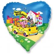 """Животные в машине """"С Днём Рождения"""", гелиевый, фольгированный шар"""