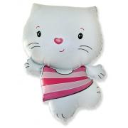 Котёнок (белый), гелиевый, фольгированный шар