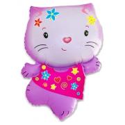 Котёнок (розовый с цветами), гелиевый, фольгированный шар