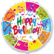 Happy Birthday серпантин и звезды, гелиевый, фольгированный шар