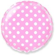 Горошек на розовом, гелиевый, фольгированный шар