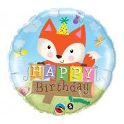 Happy Birthday Лисенок, гелиевый, фольгированный шар