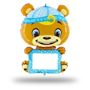 B-pad с маркером Мишка в голубом, гелиевый, фольгированный шар