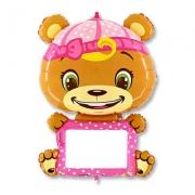 B-pad с маркером Мишка в розовом, гелиевый, фольгированный шар
