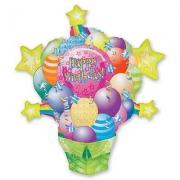 Happy Birthday Сюрприз с шарами, гелиевый, фольгированный шар
