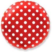 Горошек на красном, гелиевый, фольгированный шар