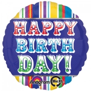 Happy Birthday Полосы разноцветные, гелиевый, фольгированный шар