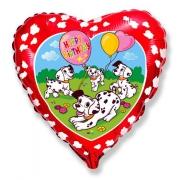 Happy Birthday Далматинцы, гелиевый, фольгированный шар