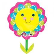 Цветок улыбающийся желтый, гелиевый, фольгированный шар