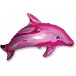 Дельфин розовый, фольгированный шар