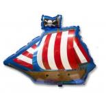 Пиратский фрегат, гелиевый, фольгированный шар