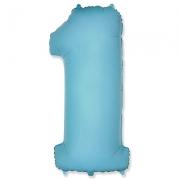 Цифра 1, пастель голубой, гелиевый, фольгированный шар