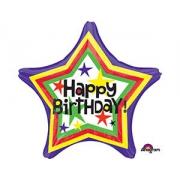 Happy Birthday Звезда полосы разноцветные, гелиевый, фольгированный шар