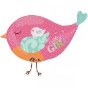 Птичка розовая, гелиевый, фольгированный шар