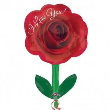 I Love You Роза со стеблем, гелиевый, фольгированный шар