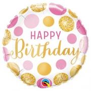 Happy Birthday Горошек розово-золотой, гелиевый, фольгированный шар