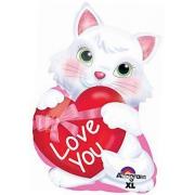 I love You Котенок с сердцем, гелиевый, фольгированный шар