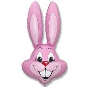 Заяц (розовый), гелиевый, фольгированный шар