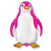 Счастливый пингвин (фукси), гелиевый, фольгированный шар
