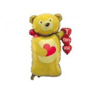 Мишка с сердцами, гелиевый, фольгированный шар