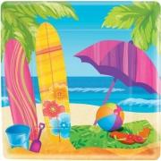 Тарелка бумажная квадратная Лето Море и песок