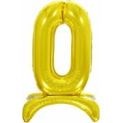 Цифра 0 на подставке, Золото, воздушный, фольгированный шар