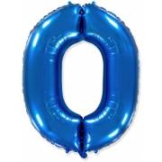 Цифра 0, Синий, гелиевый, фольгированный шар