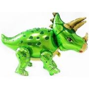 Динозавр Трицератопс, Зеленый, ходячая фигура, фольгированный шар