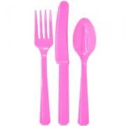 Столовые приборы, Bright Pink, пластмассовые