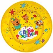 Тарелка бумажная Три кота, С Днем Рождения!, Желтый