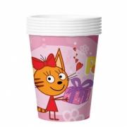 Стакан бумажный Три Кота, С Днем Рождения!, Розовый