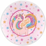 Тарелка бумажная Волшебный единорог, С Днем Рождения!, Розовый