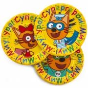 Тарелка бумажная Три Кота, Супер Герои!, Желтый