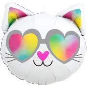 Кошечка голова, черно-белая, гелиевый, фольгированный шар