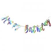 Гирлянда-буквы Happy birthday голография