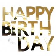 Гирлянда-буквы Happy Birthday, Золото, Металлик