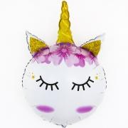Голова, Сказочный Единорог - Золотой рог, гелиевый, фольгированный шар