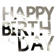Гирлянда-буквы Happy Birthday, Серебро, Металлик