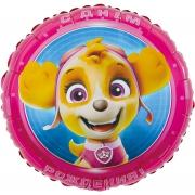 Щенячий Патруль, С Днем Рождения!, Розовый, гелиевый, фольгированный шар