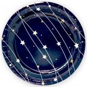 Тарелка бумажная Звездная траектория, Черный, Металлик