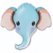 Голова Слона голубая, гелиевый, фольгированный шар