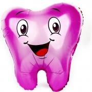 Зубик, Розовый, гелиевый, фольгированный шар